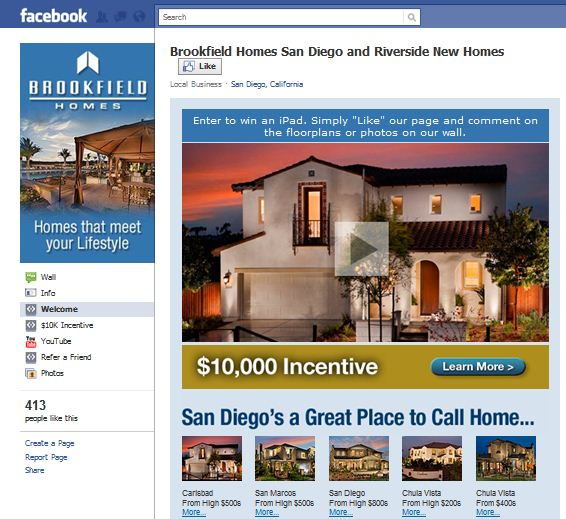 Brookfield Homes Facebook Page