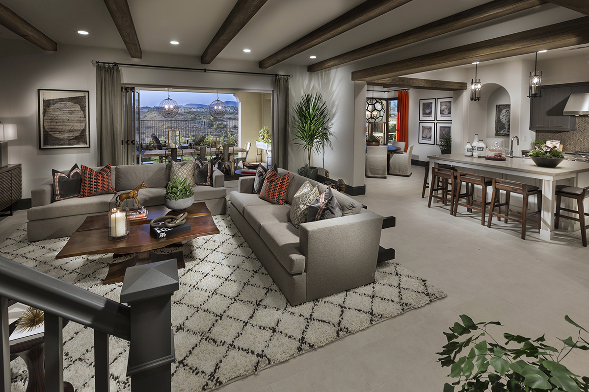 Descano Del Sur New Homes in San Diego County Plan 2 - Living Room and Kitchen
