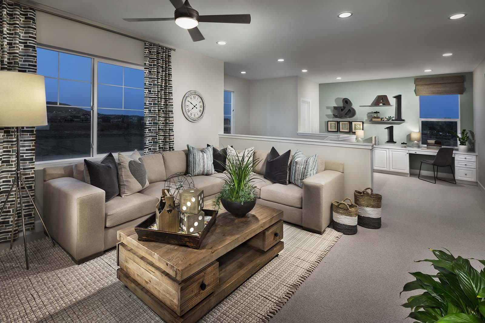 Living room in new home community in Riverside