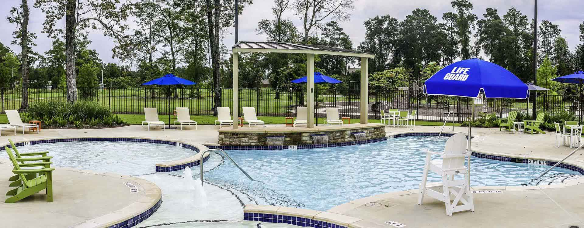 swimming pool in new home community in Porter