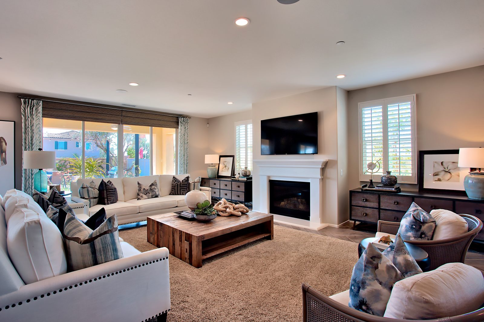Living area new residence Juniper at Spencer's Crossing Riverside County
