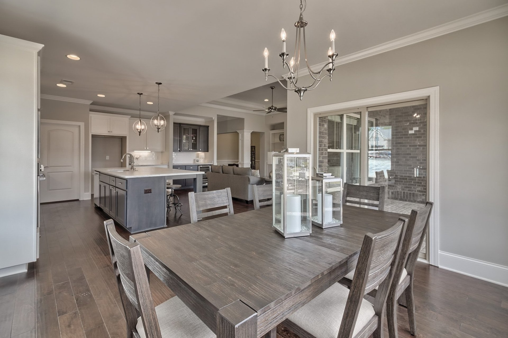 kitchen and dining area in new home development at Woodcreek Farms Elgin SC