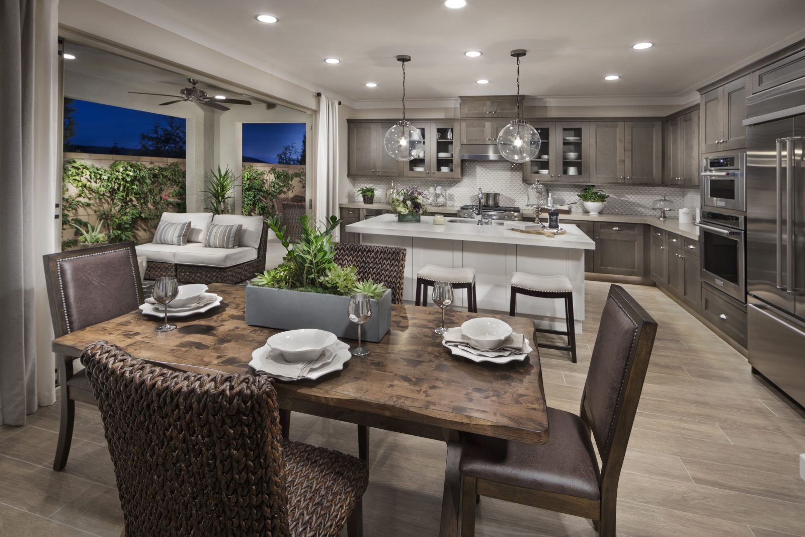 Kitchen and Outdoor Room in Irvine New Homes for Sale