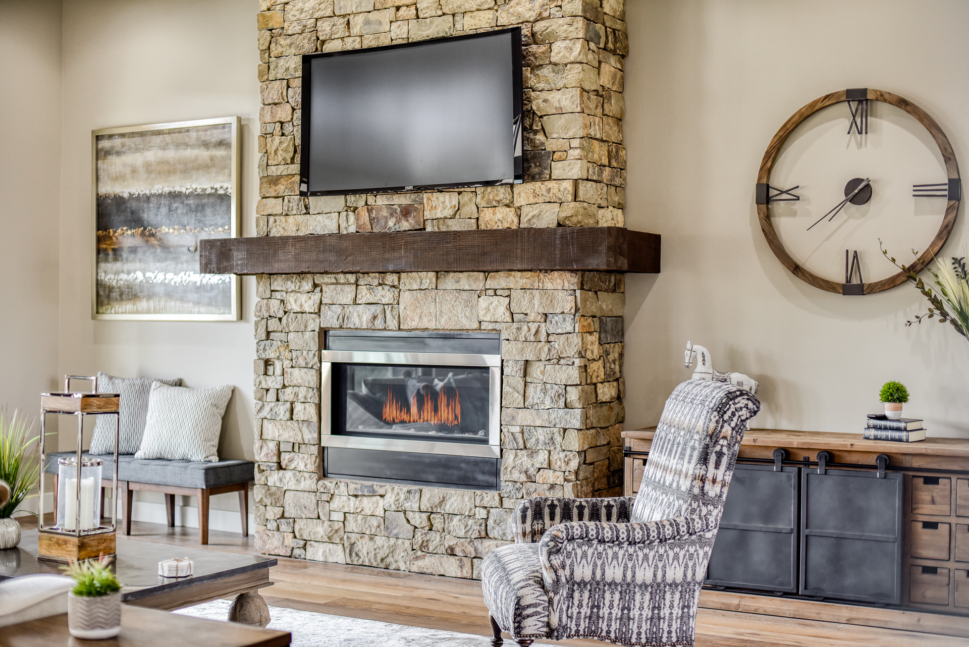fire place in new home at Yavapai Hills Northern Arizona