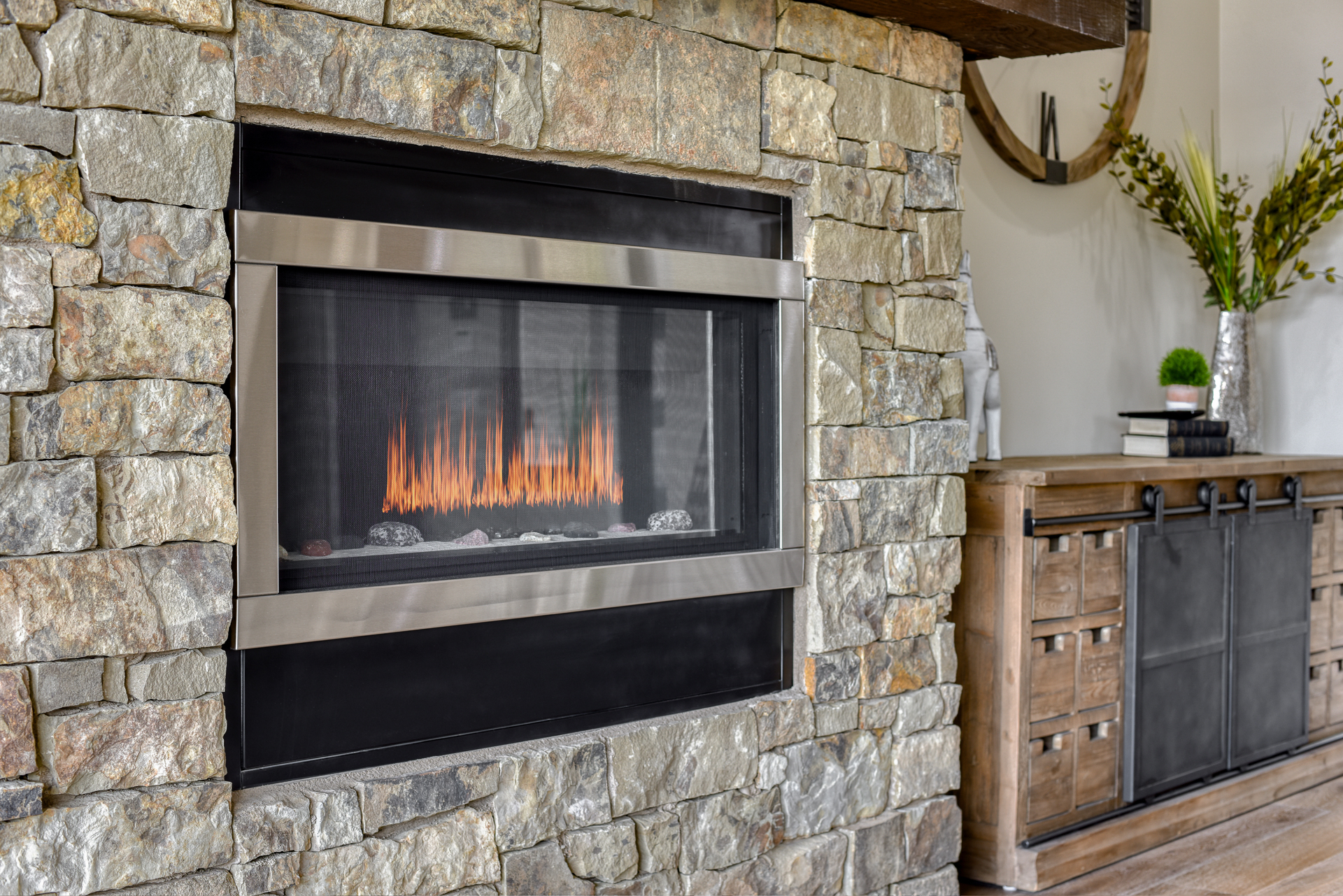 Fireplace in new Northern Arizona home