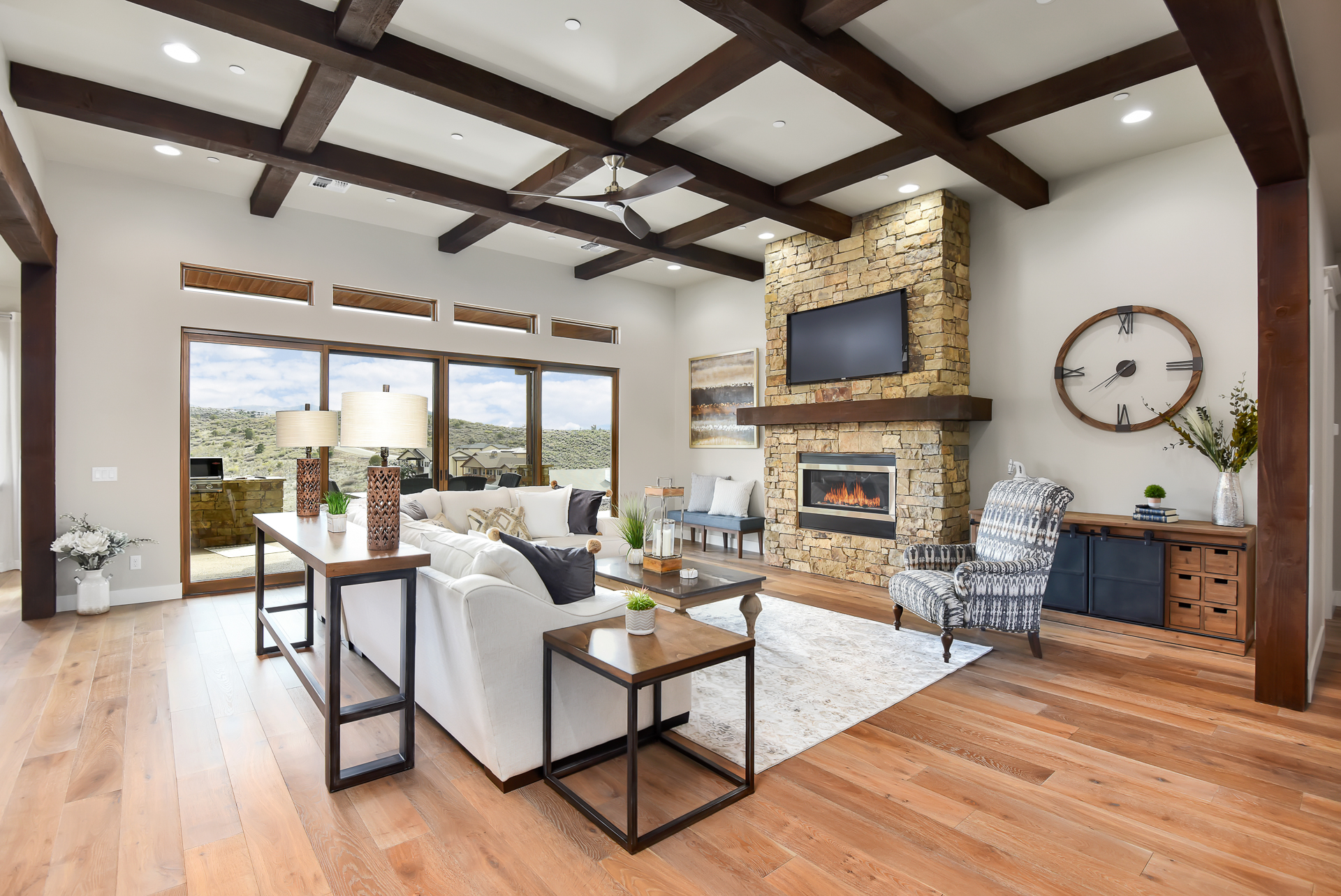 Yavapai Hills living room with fire place